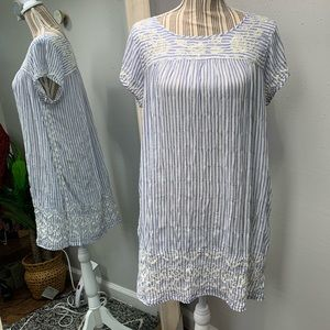 Johnny Was Boho Striped Embroidered Dress L